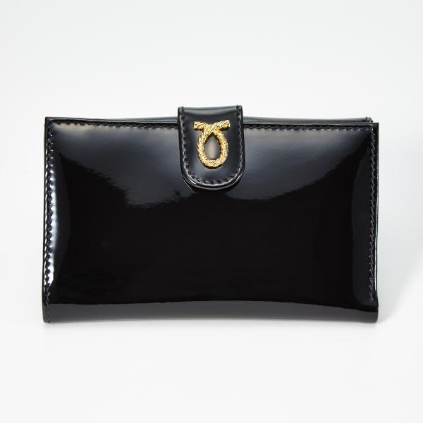 財布 14cm Black | Medium Rope Logo Purse ブラック エナメル